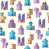 Vector colorful building seamless pattern background Stock Photos