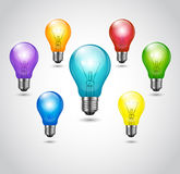 Vector Colorful Bulbs Royalty Free Stock Photo