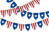 Vector colorful bunting decoration in colors of USA flag. Stock Photos
