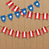 Vector colorful bunting decoration in colors of USA flag. Patriotic illustration with stars and stripes. Stock Photos