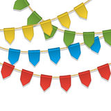 Vector colorful bunting decoration, garland, pennants on a rope for birthday party, carnaval, festival, celebration. Special events. Cute holiday background Stock Images