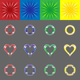 Vector colorful burst and various frames for him Stock Photos