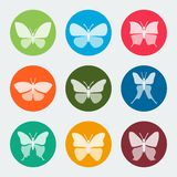 Vector colorful butterflies icons Royalty Free Stock Photo