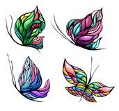 Vector colorful butterfly set with four elements Royalty Free Stock Images
