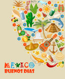 Vector colorful card about Mexico. Buenos dias.  Travel poster with mexican items. Stock Images
