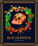Vector colorful card about Mexico. Dia de los muertos. Day of dead skull. Day of dead. Vector colorful card about Mexico. Travel poster. Colorful background. Dia Royalty Free Stock Images