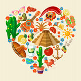 Vector colorful card about Mexico. Heart shape. Rerto style. Viva Mexico. Travel poster with mexican items. Vector colorful card about Mexico. Travel poster