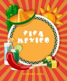 Vector colorful card about Mexico. Viva Mexico.  Travel poster with mexican items. Stock Images