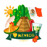 Vector colorful card with pyramid and flag about Mexico. Rerto style. Viva Mexico. Travel poster with mexican items. Vector colorful card about Mexico. Travel