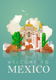 Vector colorful card with pyramid about Mexico. Mirror effect. Viva Mexico.  Travel poster with mexican items. Stock Photos