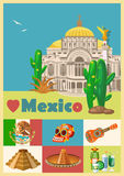 Vector colorful card with pyramid about Mexico. Rerto style. Viva Mexico. Travel poster with mexican items. Vector colorful card about Mexico. Travel poster