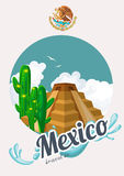 Vector colorful card with pyramid about Mexico. Travel to Mexico. Viva Mexico.  Travel poster with mexican items. Royalty Free Stock Images