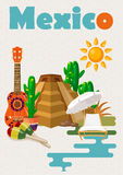 Vector colorful card with pyramid about Mexico. Vintage style. Welcome to Mexico. Viva Mexico.  Travel poster with mexican items. Royalty Free Stock Image