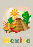Vector colorful card with pyramid about Mexico. Welcome to Mexico. Viva Mexico.  Travel poster with mexican items. Royalty Free Stock Image