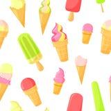Vector colorful cartoon waffle ice cream seamless. Vector colorful cartoon waffle cone ice cream on white seamless pattern stock illustration