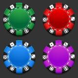 Vector colorful Casino chip. Gambling. Poker chip. Black Jack. 21. Las Vegas. Game stock illustration