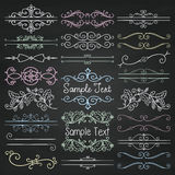 Vector Colorful Chalk Drawing Dividers, Frames, Swirls. Set of Hand Drawn Colorful Doodle Design Elements. Decorative Floral Dividers, Borders, Swirls, Scrolls Royalty Free Stock Image