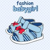Vector Colorful Children`s Sandals with Bows baby boy or baby girl. Colorful Children`s Sandals with Bows baby boy or baby girl Stock Image