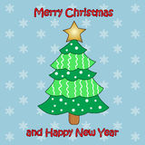 Vector colorful Christmas tree on blue background Royalty Free Stock Photo