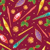 Vector colorful Christmas tree ornaments seamless repeat pattern background. Perfect for winter holiday fabric, giftwrap. Scrapbooking, greeting cards design Royalty Free Stock Photography