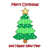 Vector colorful Christmas tree on white background. Design elements for holiday cards Stock Images