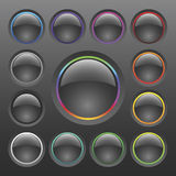 Vector Colorful Chrome Button Set Royalty Free Stock Photo