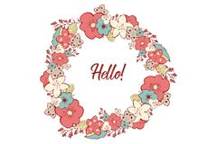 Vector colorful circular floral wreaths with summer flowers and central white copy space for your text. Vector handdrawn wedding w stock illustration