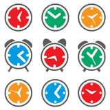 vector colorful clock symbols Stock Image