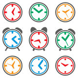 Vector colorful clock symbols Stock Photos
