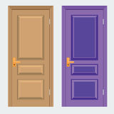 Vector colorful Closed Door with Frame Isolated on Background. Realistic and Flat color style design Stock Photography