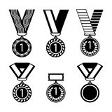 Vector colorful collection of golden medals with first number. Winner medals with red, blue and yellow ribbons poster. Vector colorful collection of golden Stock Photography