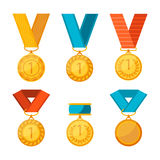 Vector colorful collection of golden medals with first number. Winner medals with red, blue and yellow ribbons poster. Vector colorful collection of golden Royalty Free Stock Photo