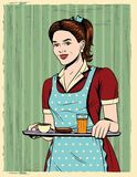 Vector colorful comic pop art style illustration of a beautiful housewife with a tray food. Vintage postcard with young girl in apron serving a breakfast stock illustration