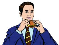Vector colorful comic style illustration of a business man with burger in his hands. Handsome guy from 50-60s in suit eating fast food isolated from white Royalty Free Stock Image