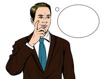 Vector colorful comic style illustration of a business man with worried face. Handsome guy standing in office suit with finger near his face and speech bubble vector illustration