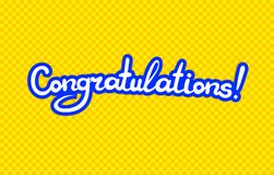 Vector Colorful Congratulations Lettering, White Calligraphic Letters on Yellow Background. royalty free illustration