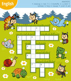Vector colorful crossword in English about animals Stock Photo