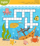 Vector colorful crossword in English about the underwater world. Vector colorful crossword in English, education game for children about the underwater world and Royalty Free Stock Image