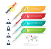 Vector colorful dart arrow like options banner with people icons Stock Photo