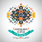 Vector colorful decorative element on native ethnic style Royalty Free Stock Photography