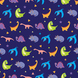 Vector Colorful Dinosaurs Rows Seamless Pattern Stock Photography
