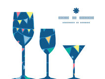 Vector colorful doodle bunting flags three wine Stock Photography