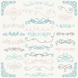 Vector Colorful Doodle Hand Drawn Swirls. Set of Colorful Hand Drawn Rustic Doodle Design Elements. Decorative Swirls, Scrolls, Text Frames, Dividers, Corners Stock Image
