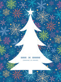 Vector colorful doodle snowflakes Christmas tree Royalty Free Stock Images