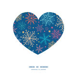 Vector colorful doodle snowflakes heart silhouette Royalty Free Stock Image