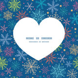 Vector colorful doodle snowflakes heart silhouette Stock Photo