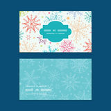 Vector colorful doodle snowflakes horizontal frame Stock Image
