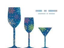 Vector colorful doodle snowflakes three wine Stock Photo