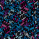 Vector colorful dotted music seamless pattern Stock Images