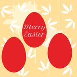 Vector colorful easter eggs hanging on pearl beads Stock Photos